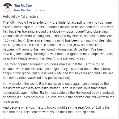 flat earth public post