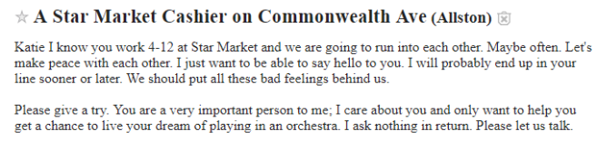 Craigslist's missed connection section is the only reason I